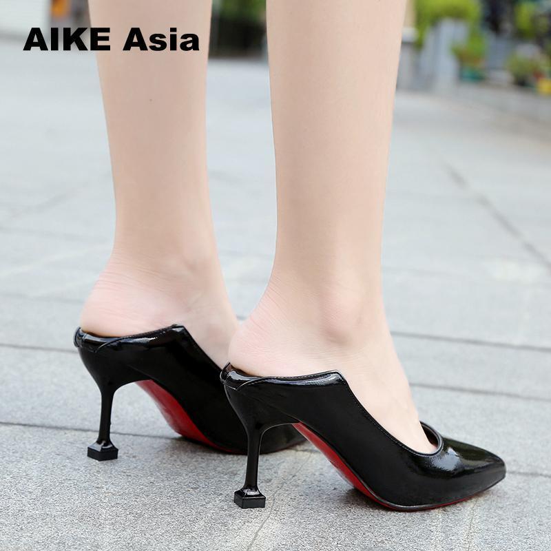 095fab477 Compre Designer De Vestido Sapatos Plus Size 34 42 Mulheres Duas Maneiras  De Usar Bombas Apontadas Sapato De Couro De Patente De Salto Alto Barco De  ...