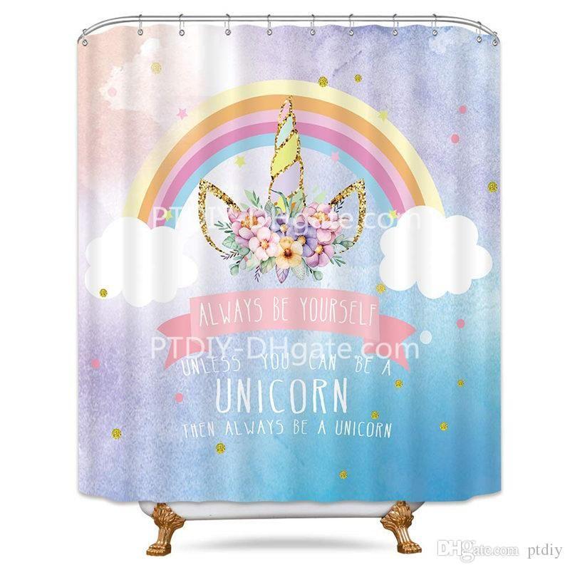 Cartoon Rainbow Unicorn Shower Curtain Flowers Kids Animal Sky Blue Decor  Fabric Bathroom Set