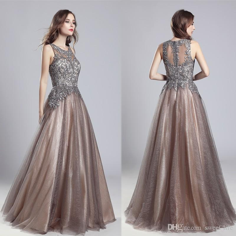 2019 Long Luxury Elegant Mocha A-Line Beads Sash Prom Party Sleeveless  Dresses Dubai Show Backless Formal Occasion Dress Evening Ball Gown Evening  Dress ... e027fe80a2fc