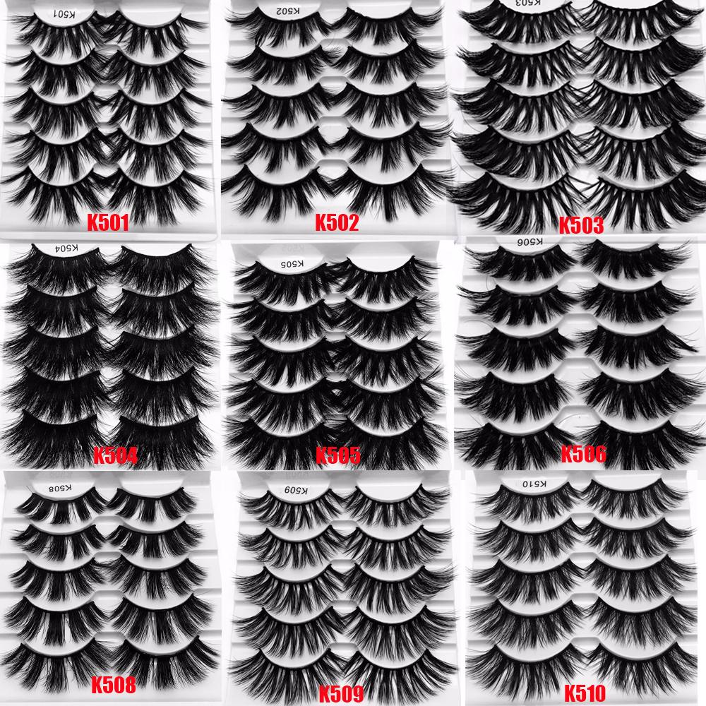 Thick Wispy Fluffy Natural Long Lashes 5 Pair 25mm 3D Mink Hair False Eyelashes Makeup Tools Full Soft Lashes Extension Tools
