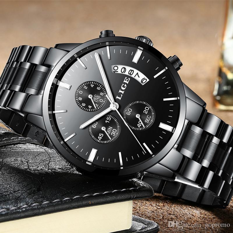 51f0d6caf80c Compre 2019 LIGE Reloj De Los Hombres De Moda Deporte Reloj De Cuarzo  Relojes Para Hombre De Primeras Marcas De Lujo De Acero Completo De Negocios  Reloj ...