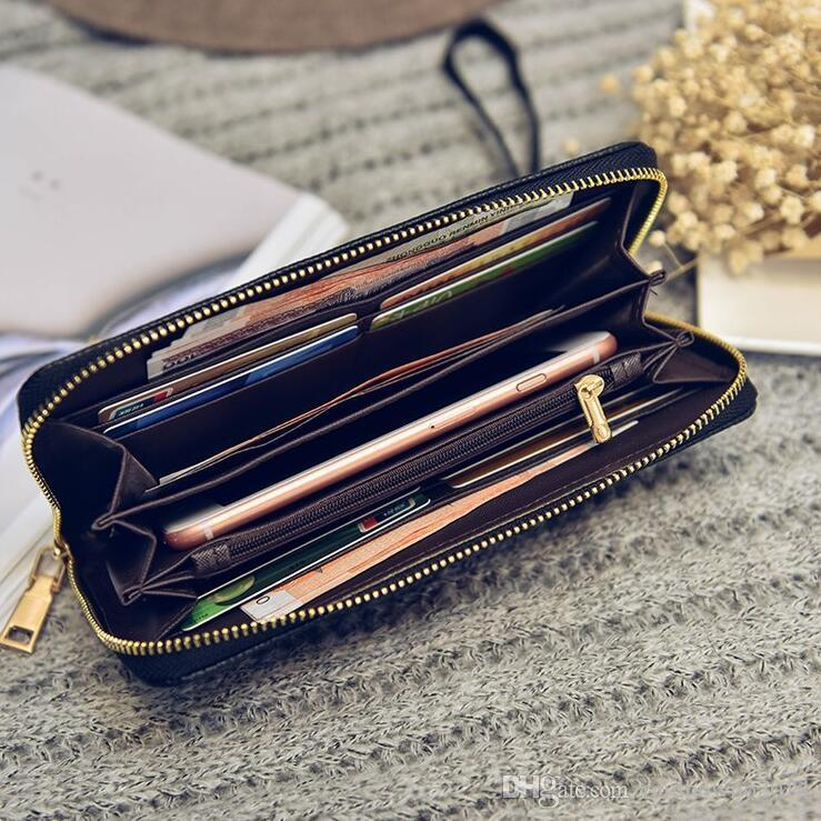 Factory wholesale brand women hand bag multi-card printing women long wallets fashion color hand coin purse classic Ribbon decorative storag