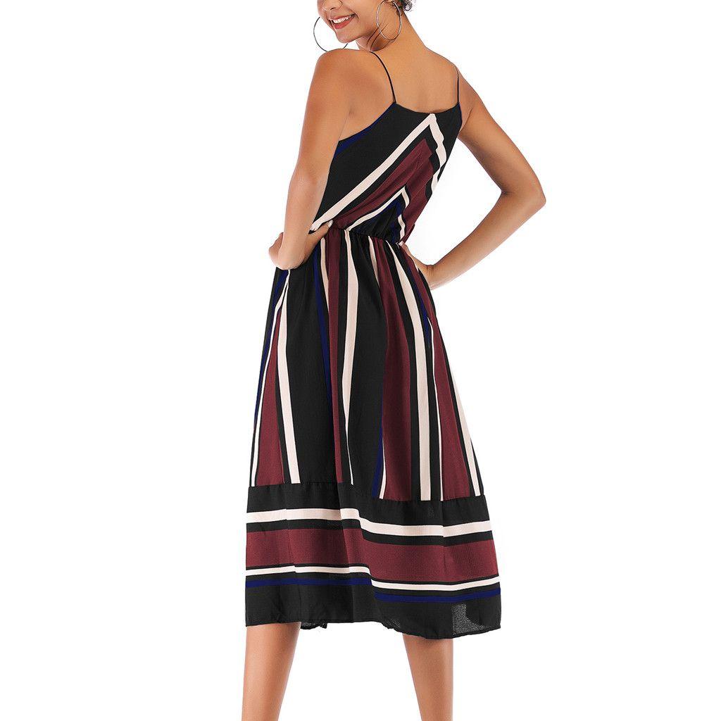 women maxi dress striped retro boho style Chiffon Spaghetti Strap robe 2019 Summer dress party female elegant dress vestidos