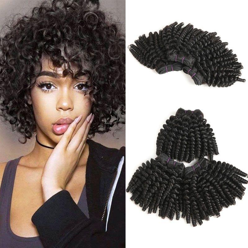 Brasilianisches Funmi Echthaar Bundelt Tante Fummi Bouncy Locken Afro Verworrene Lockige Haare Weben Kurze Frisuren Unverarbeitetes 9a Jungfrau Haar