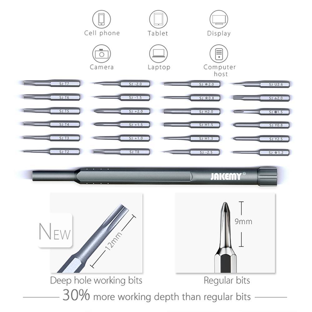 24 in 1 Schraubendreher Set S-2 Bits Mehrzweck-Magnetschraube Bits Schraubendreher DIY Repair Tool Kit für Handy