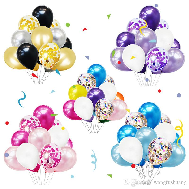 12-inch colorful balloon set round sequins transparent balloon combination birthday party room decoration layout