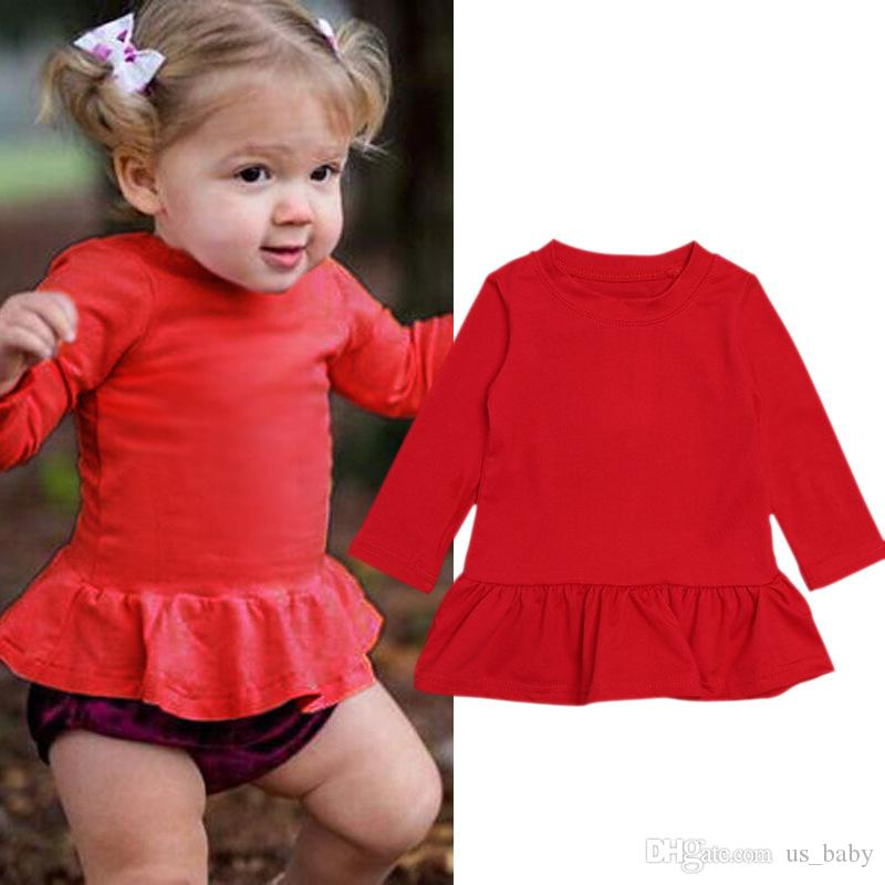 6c0407dfa9579 2019 Baby Girl Dress Shirt Solid Red Toddler Girls Long Sleeve Dress Kids  Princess Party Holiday Dress From Us_baby, $4.83 | DHgate.Com