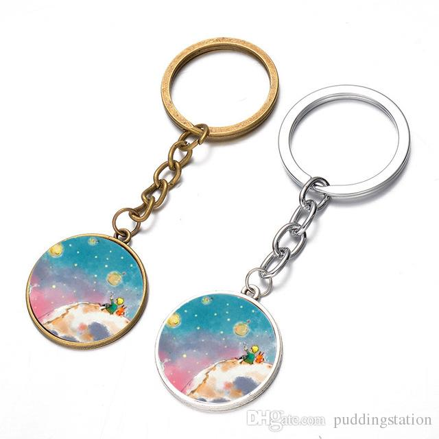 Newest The Little Prince Key Chain Handmade Glass Dome Cartoon Fun Children Pendant Keychain Jewelry for Boys Girls
