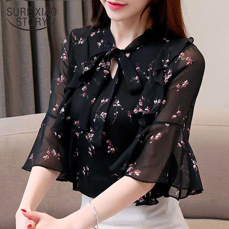 4cfffea003 Blusas mujer de moda 2019 women blouse ladies tops harajuku chiffon blouse  shirt women plus size clothes V-Neck bow 4403 50