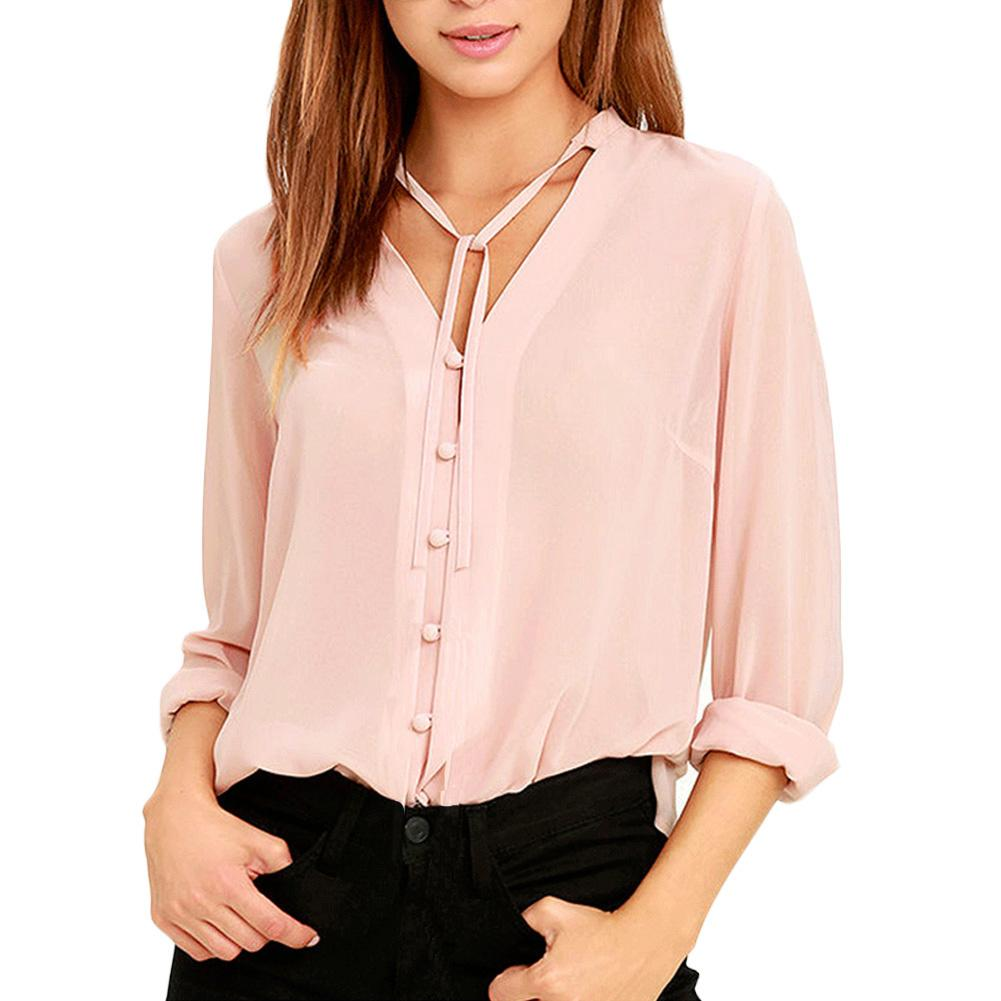8641b0a0c Compre 2019 Mulheres Sexy Sheer Chiffon Blusa Fina Sólida Único Breasted  Marca Camisa Com Decote Em V Manga Longa Camisa Elegante Casual Tops Rosa  De ...