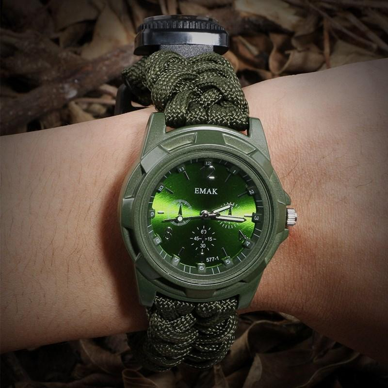 Camping tools for outdoor recreation Survival Watch Compass Thermometer Rescue Rope Paracord Bracelet Equipment Tools kits (2)