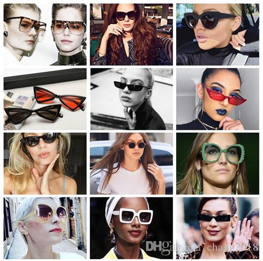 62d33a12c176 15 Style New Cat Eye Women Sunglasses Tinted Color Lens Men Vintage ...