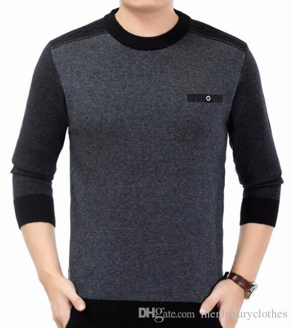 Business Mens Gentle Sweaters Fathers Winter Autumn Bottoming Sweaters O-neck Long Sleeved Knitted Woolen Sweatshirts