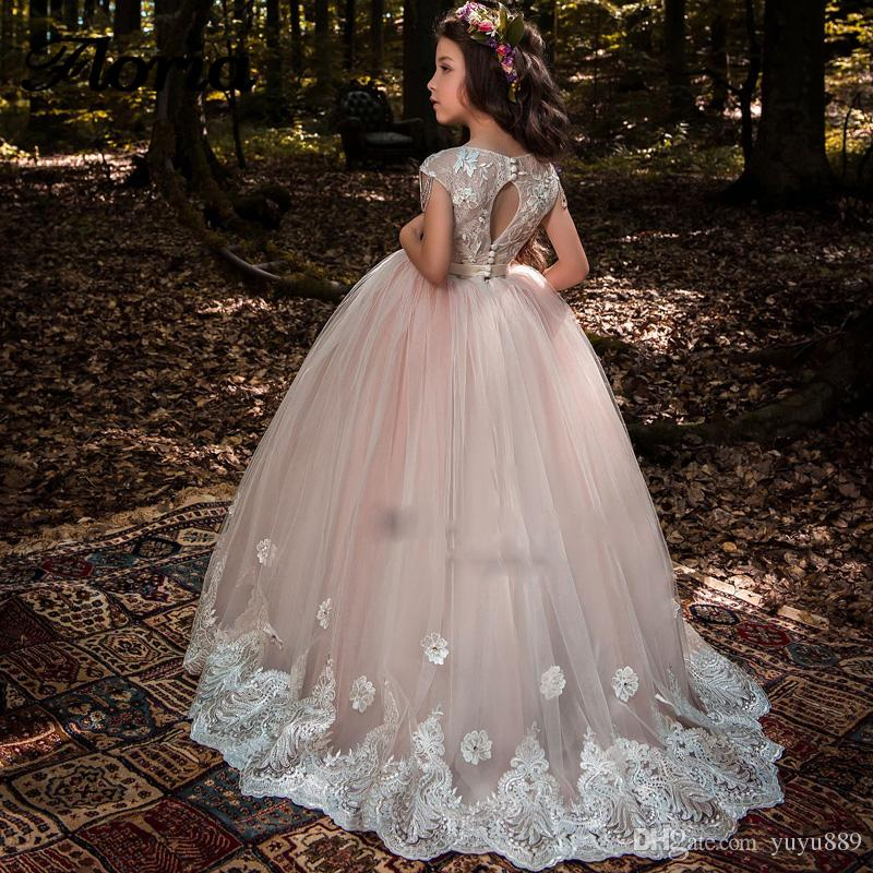 Kids Pageant Dresses Real Image Long Girls Frock Designs Girl Communion Dress Lace Custom Made Flower Girl Dress