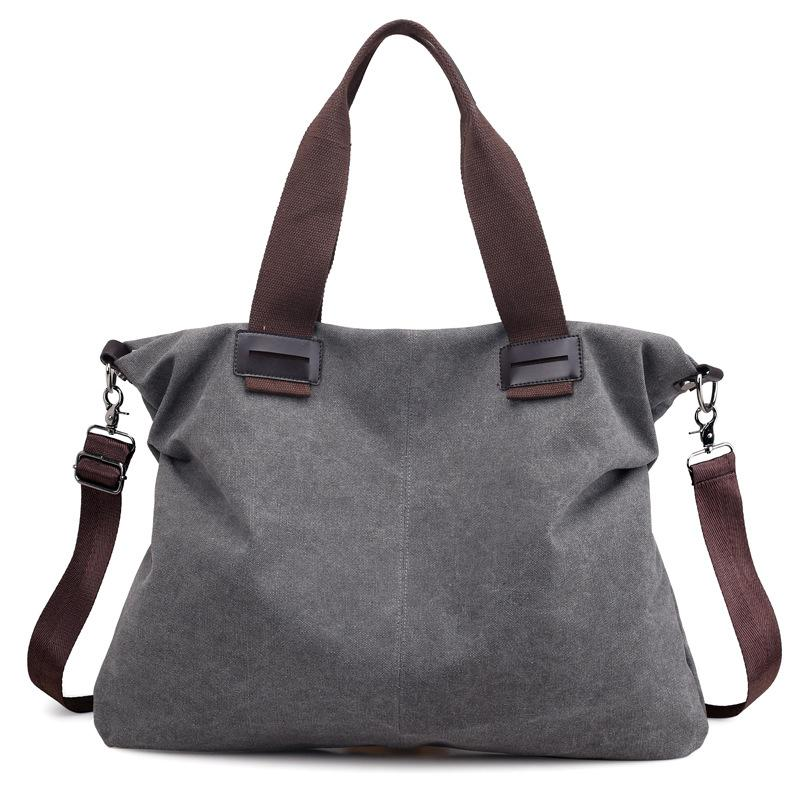Classic Solid Color Women's Sweet Canvas Handbag Fashion Brand Design Cute Soft Material Travel Shopping Trend Handbag