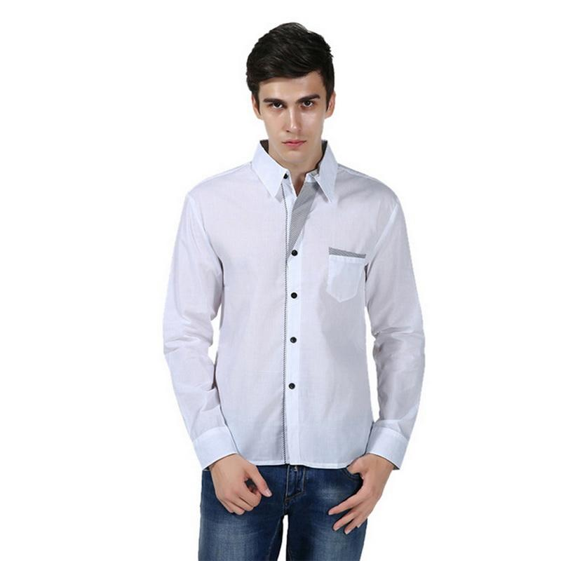 dbbd954267 Compre VERTVIE 2019 Homens Moda Casual Camisas De Manga Longa Slim Fit  Masculino Social Business Camisa De Vestido Dos Homens Confortáveis Camisa  ...