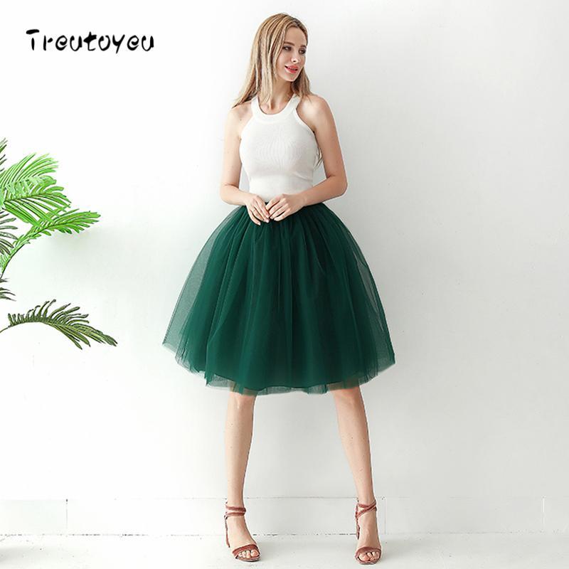 0f2d2b882 6 capas 65 cm falda larga de tul elegante falda plisada del tutú Faldas de  verano para mujer 2018 Lolita Style Faldas Saia Feminina Jupe Y19043002