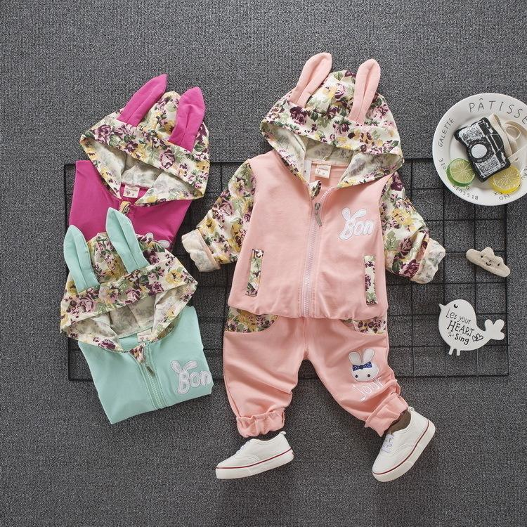 Children Girls Cotton Clothing Suits Spring Autumn Baby Cartoon Rabbit Hoodies Pants 2Pcs/Set Kid Cute Clothes Toddler Tracksuit