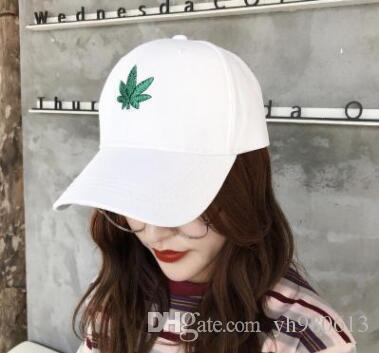 South Korean summer new green maple leaf cap female casual versatile embroidery leaves curved eaves baseball cap male tide