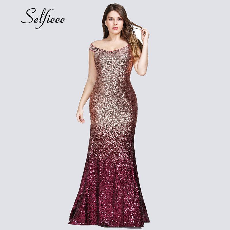1ce83fbe3 Compre Sexy Plus Size Vestido De Fiesta De Lentejuelas 2019 Vestidos De Fiesta  Elegante Sirena Cuello En Hombro Largo Vestidos Formales Mujeres De Noche A  ...