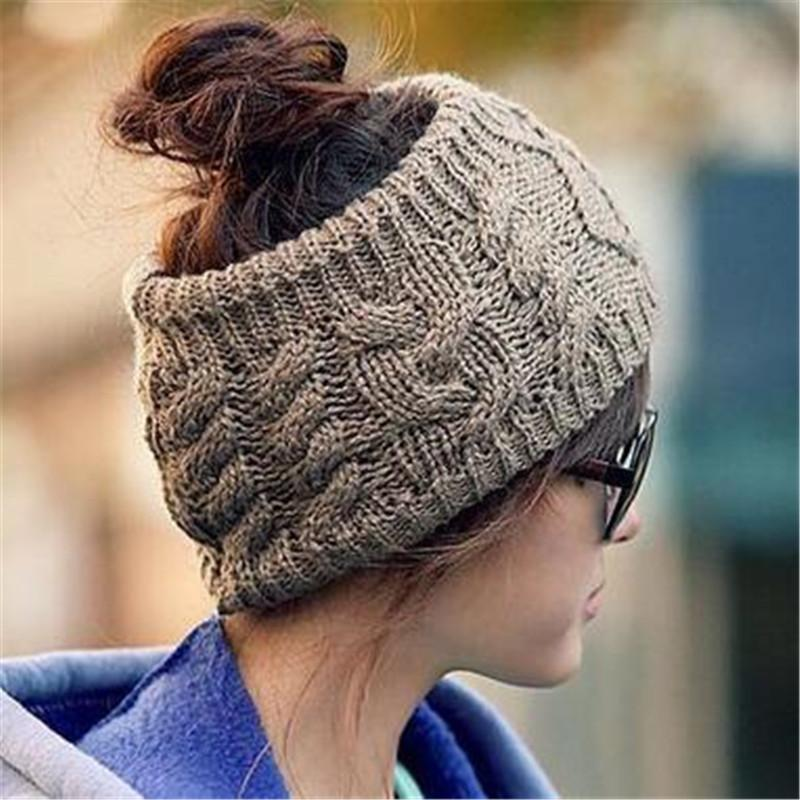 New Designer Green Color Fashion Korean Winter Warm Women's Braided Knit Wool Hat Cap Hair band