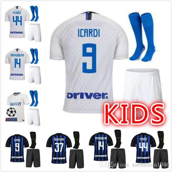 separation shoes ff92d 1375f 3 18 19 Kids Inter Soccer Jersey ICARDI 9# NAINGGOLAN 14 LAUTARO 10#  PERISIC 44# SKRINIAR Soccer Kits Boys good Quality Football Shirts Pant
