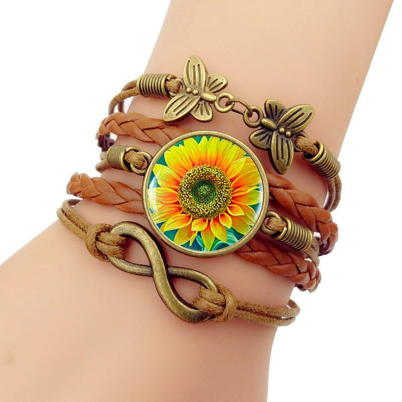 Armbanden Voor Vrouwen New 2019 Simple Fashion Men's Sunflower Time Jewel Bracelet Multilayer Hand Knitting Jewelry Accessories