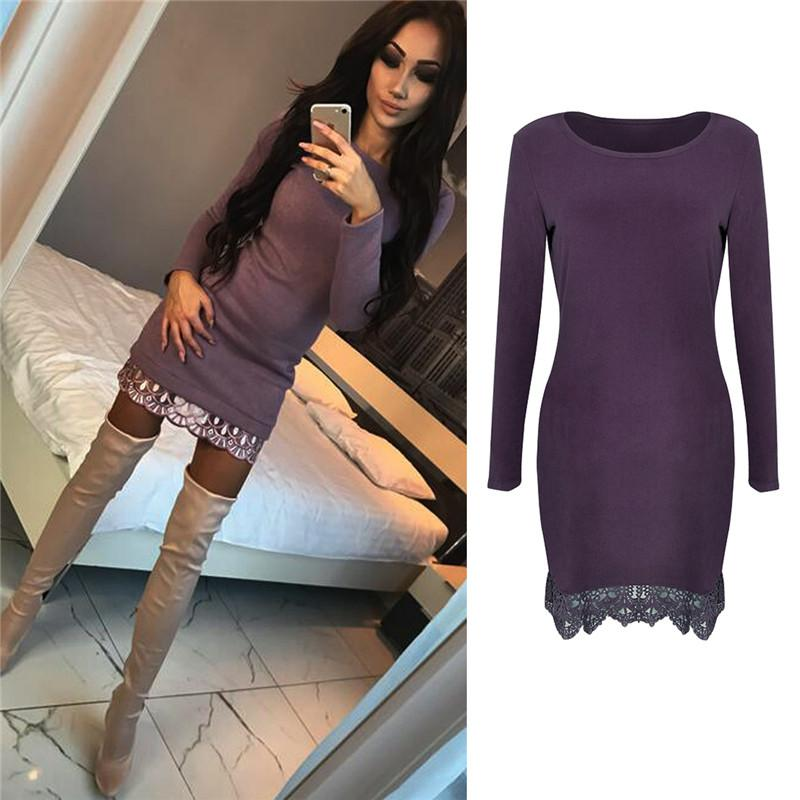 hirigin new fashion Women Long Sleeve lace Mini Dress female Stretch dresses Ladies solid sheath Casual Party o-neck Dress