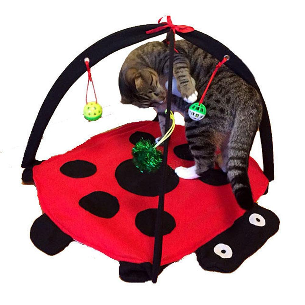 cyclamen9 Pop-Up Pet Playpen with Carrying Case Pet Cartoon Funny Bell Toy Folding Hammock Cushion (red)