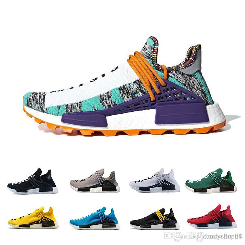 aa995b617 2019 Human Race NMD Running Shoes Pharrell Williams Hu Trail Oreo Nobel Ink Black  Nerd Designer Sneakers Men Women Sport Shoes 36 46 Indoor Soccer Shoes ...