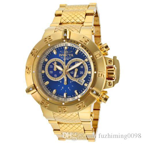 Oringal Quality Invicta Model:14501 Men's Subaqua Gold-Tone 18Kt. Gold Plated Stainless Steel Watch waterproof 200 m