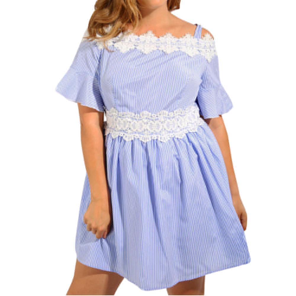 01dcc1374448 FEITON Women S Plus Size Blue Stripe Dresses Sexy Off Shoulder Lace O Neck  Patchwork Trim Cold Shoulder Skater Mini Dress Women Black Dresses Casual  ...