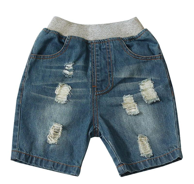 375aacac5852 Boys Hole Denim Shorts 2019 New Summer Kids Pocket Elastic Waist Casual Short  Jean Wash Water Soft Children Cowboy Hot Pants Y1211 Navy Blue Boy Shorts  Boys ...
