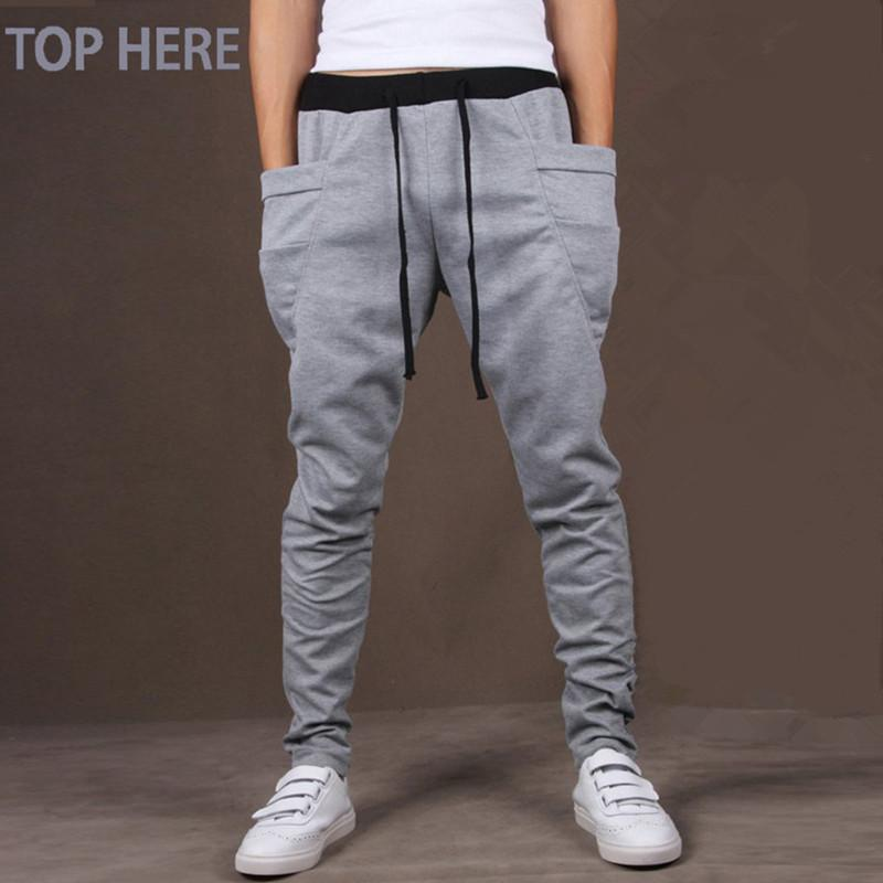 Men Casual Pants Cool Design Moletom Big Pocket Top Here Brand Clothing Army Trousers Hip Hop Harem Pants Mens Joggers 8 Colors