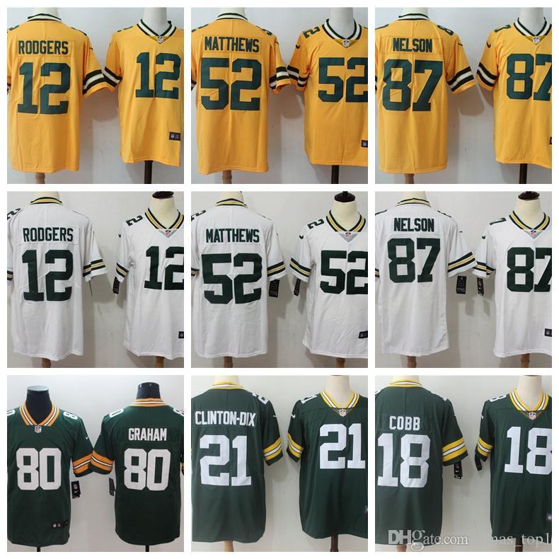 separation shoes 584aa 726a2 2019 Mens Green Bay Packers Football Jersey 12 Aaron Rodgers 52 Clay  Matthews 87 Jordy Nelson 18 Randall Cobb 21 Clinton-Dix Hundley Jerseys