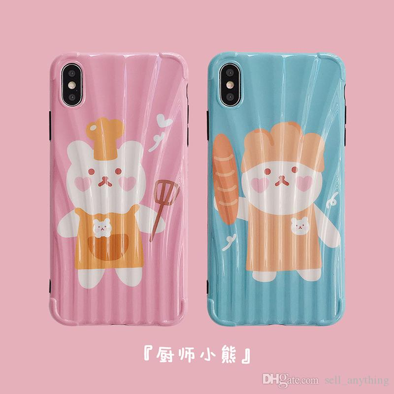 For Iphone Xs Max Xr Phone Case Cute Chef Bear Couple 6 7 8 X Plus Pattern TPU Soft Cover Cell Phone Cases