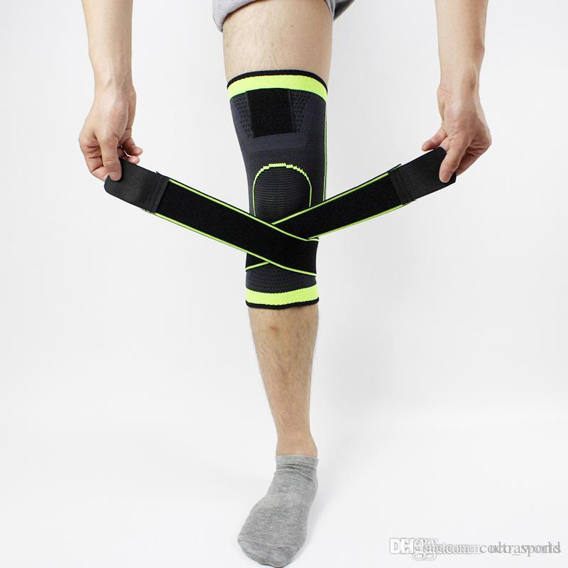 3b9629d366 2019 3D Weaving Pressurization Knee Brace Basketball Tennis Hiking Cycling  Knee Support Professional Protective Sports Knee Pad Foot Protector From ...