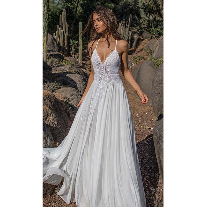 competitive price 95c9c 581d5 Vestito da spiaggia lungo in pizzo bianco Bohomian Sexy con maniche lunghe  da donna in stile boho