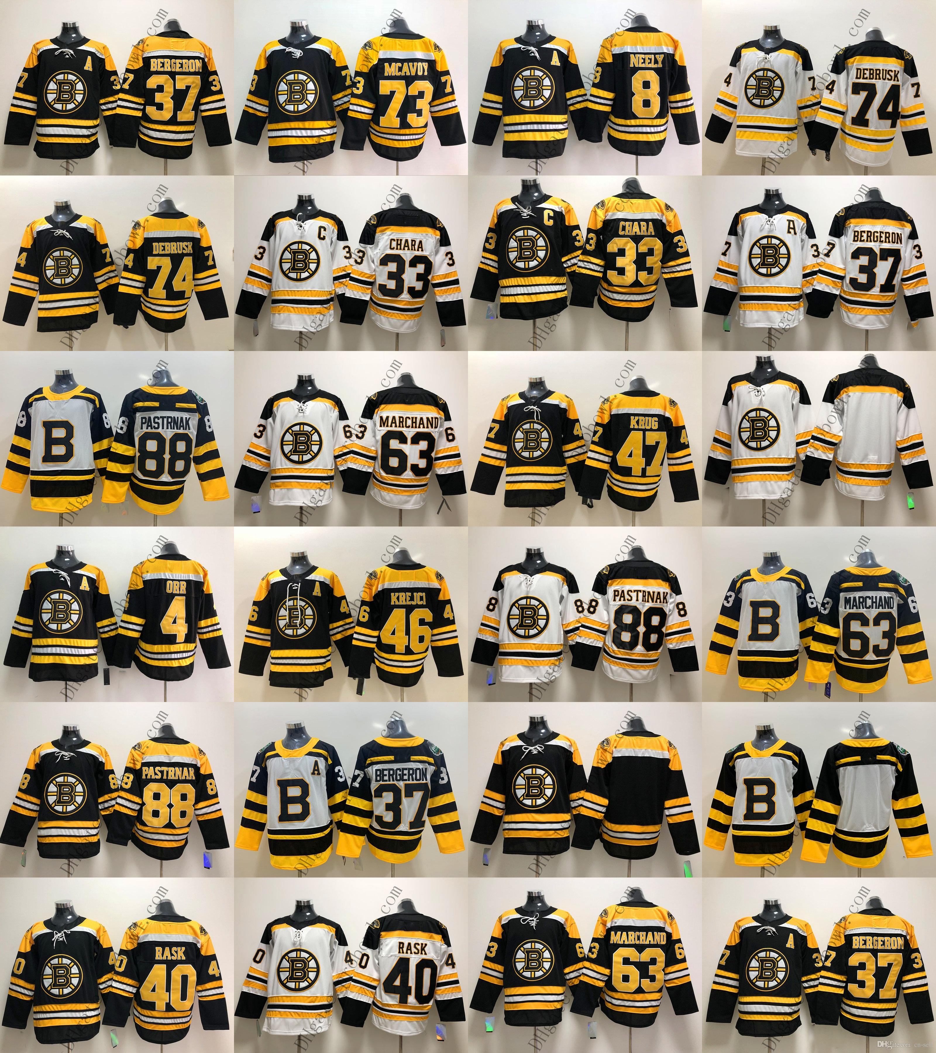 3bb0778212a Acquista Boston Bruins Pastrnak 63 Brad Marchand 73 McAvoy 8 88 37 47 40  Tuukka Rask 46 David Krejci 33 Zdeno Chara 4 Orr Blank Maglie Da Hockey A   25.18 ...
