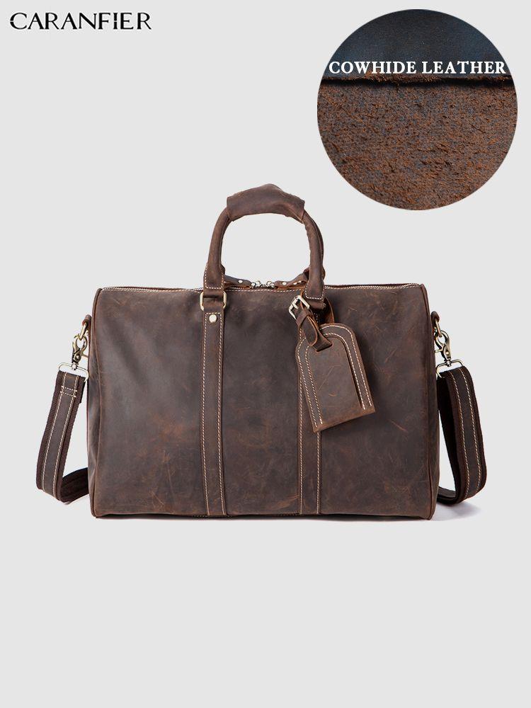 9bb7d15c892d CARANFIER Mens Travel Bags Crazy Horse Genuine Cowhide Leather ...