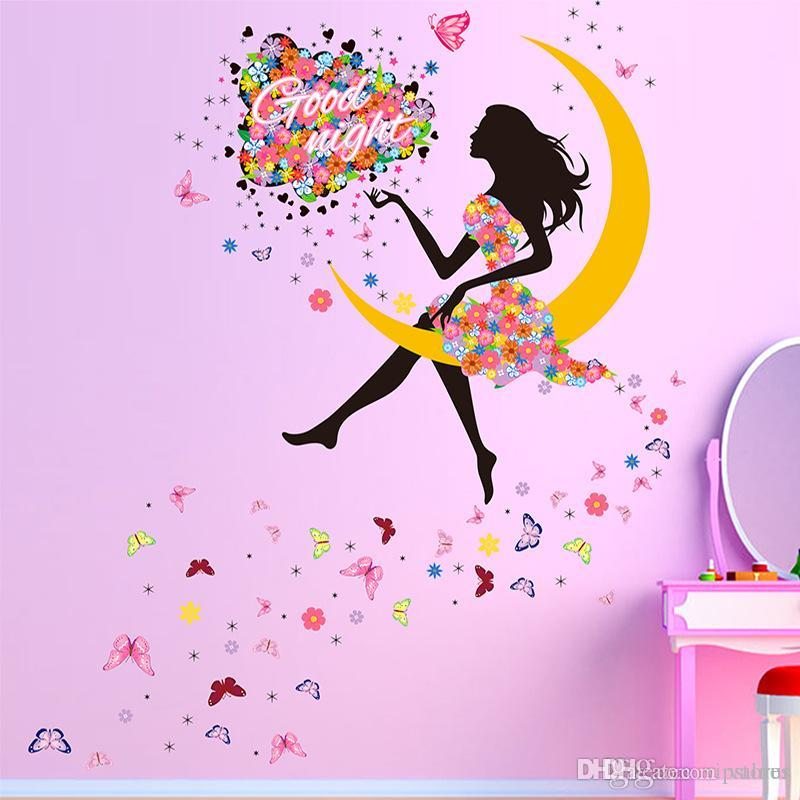 Creative Butterfly Princess Wall Stickers Decal For Home Decor Moon Girl Wall Mural Art Kids Bedroom Living Room Wall Decoration