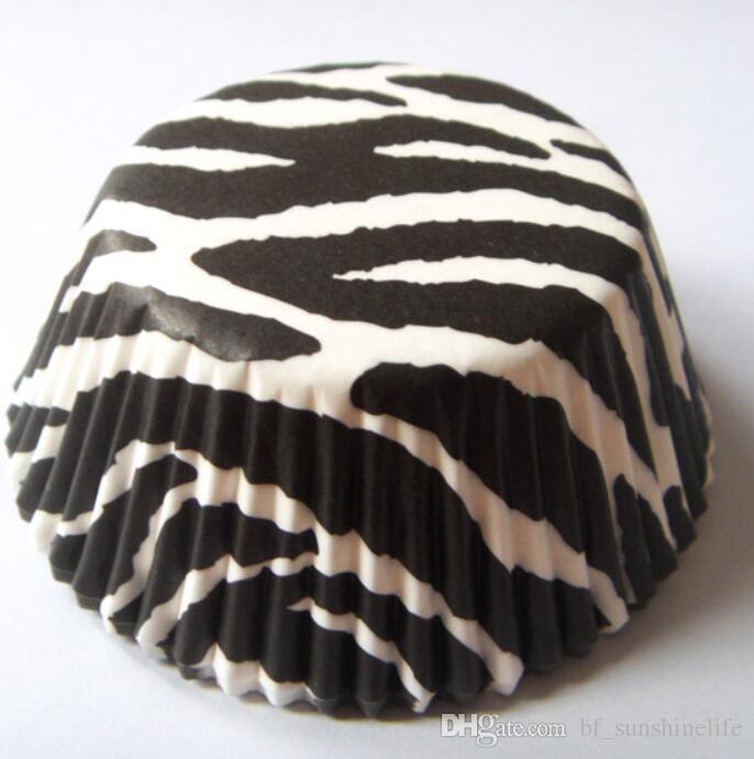Blanco vaca / cebra / leopardo estampado animal raya de camuflaje Cupcake Liner muffin molde para hornear pastel de la taza 200 unids / set