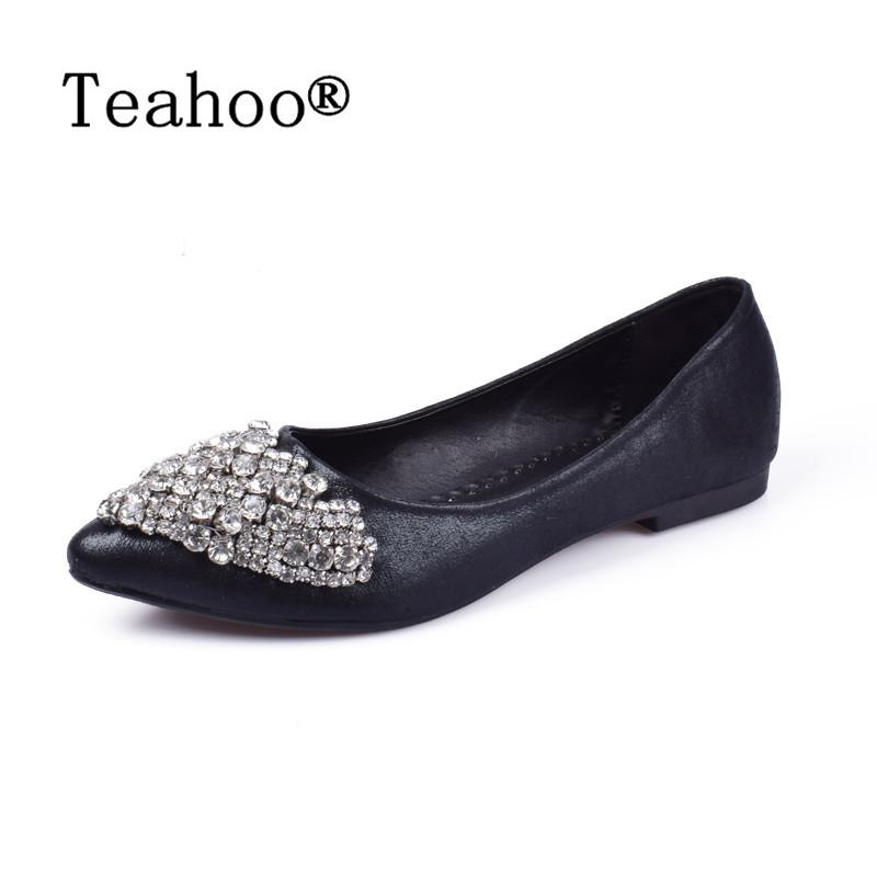 33579f39ab1f Designer Dress Shoes NEW Fashion 2019 Flats Women Ballet Princess For  Casual Crystal Boat Rhinestone Women Flats PLUS Size New Mens Boots Shoe  From Bags77