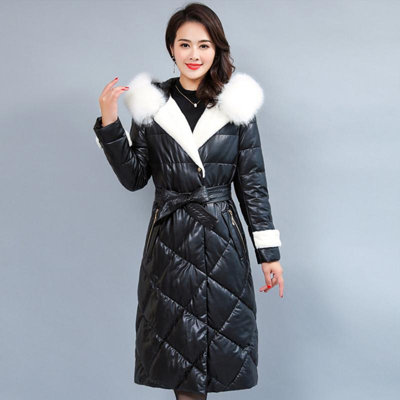 10cbe0870e7a1 2019 Fur Collar Women S Leather Jacket Winter Down Jacket Warm Plus Size  5XL Long Parka Female Coat Women High Quality Hooded From Vanilla01