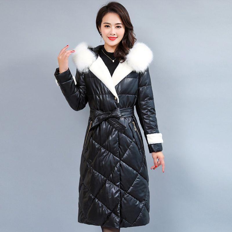 pretty nice c7466 a39f6 Giacca in pelle da donna con collo in pelliccia Piumino invernale da donna  Plus Size 5XL Cappotto lungo Parka donna Cappotto di alta qualità da donna