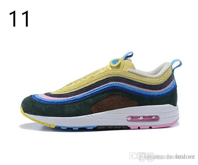 2019 HOT Sale Air Cushion 97 Running Shoes Silver Bullet Gold White ... 58e8a1eef1d7