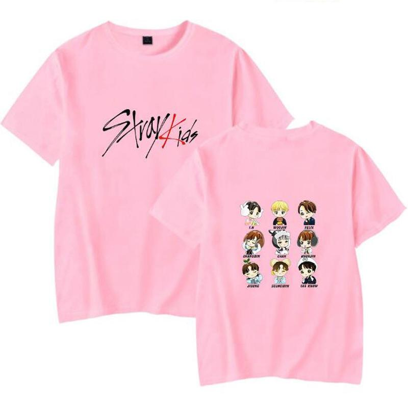 b9c8a75c2916f KPOP Korean Fashion Stray Kids Cartoon Print T Shirt Women Men Cotton  Harajuku Casual Funny K-POP Female Hip Hop Clothes