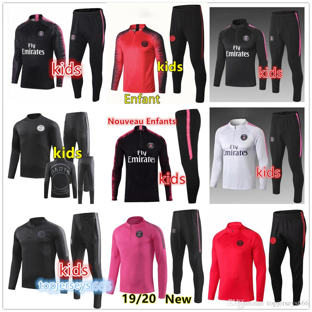 b9899e534cab 2019 New Kids Psg Tracksuit 2019 2020 Psg Soccer Jogging Jacket MBAPPE  POGBA 18 19 Paris Child Football Training Suit From Topjerseys666