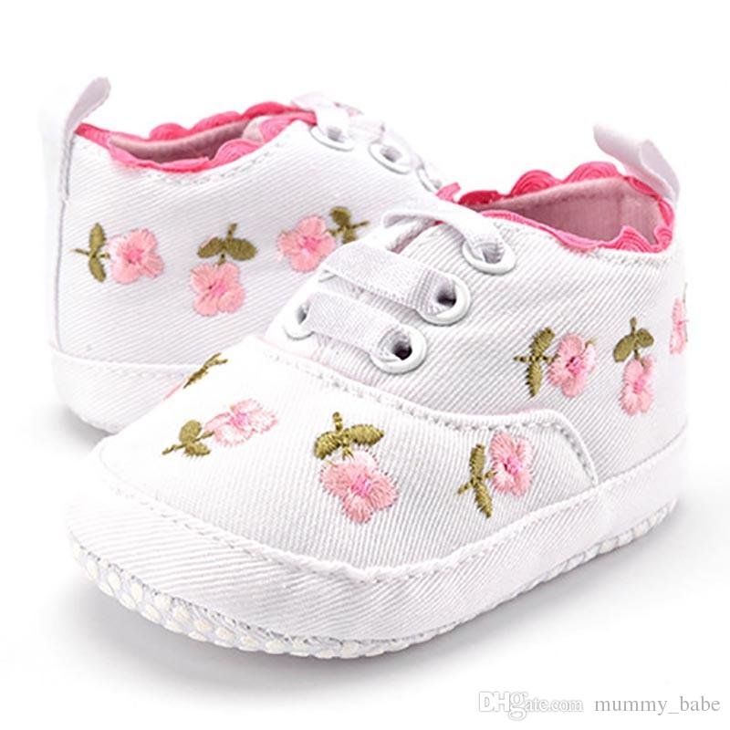 b3453ff7d4a5c Baby Girl Shoes White Lace Floral Embroidered Soft Shoes Prewalker Walking  Toddler Kids Shoes free shipping