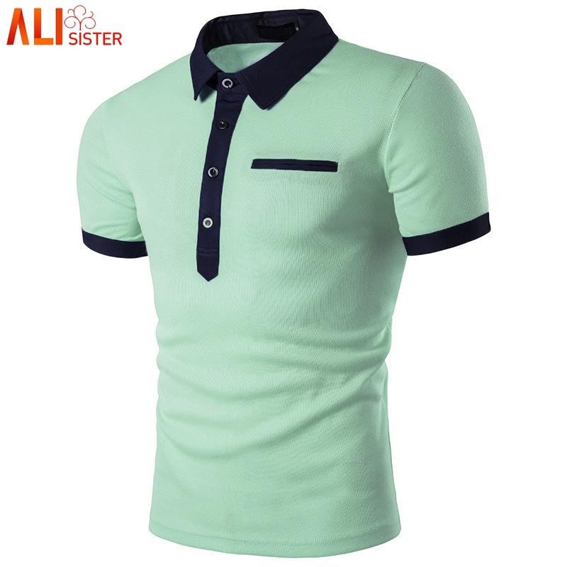 f28cd2777d9d3 Compre Moda Camisa Polo Verde Homens Polo 2019 Estilo Verão De Manga ...